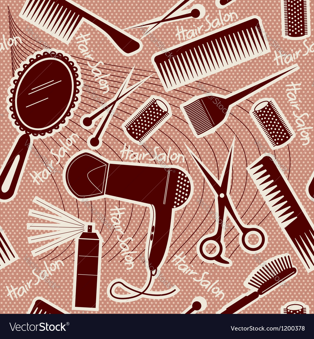 Hairdressing equipment seamless pattern background vector | Price: 3 Credit (USD $3)