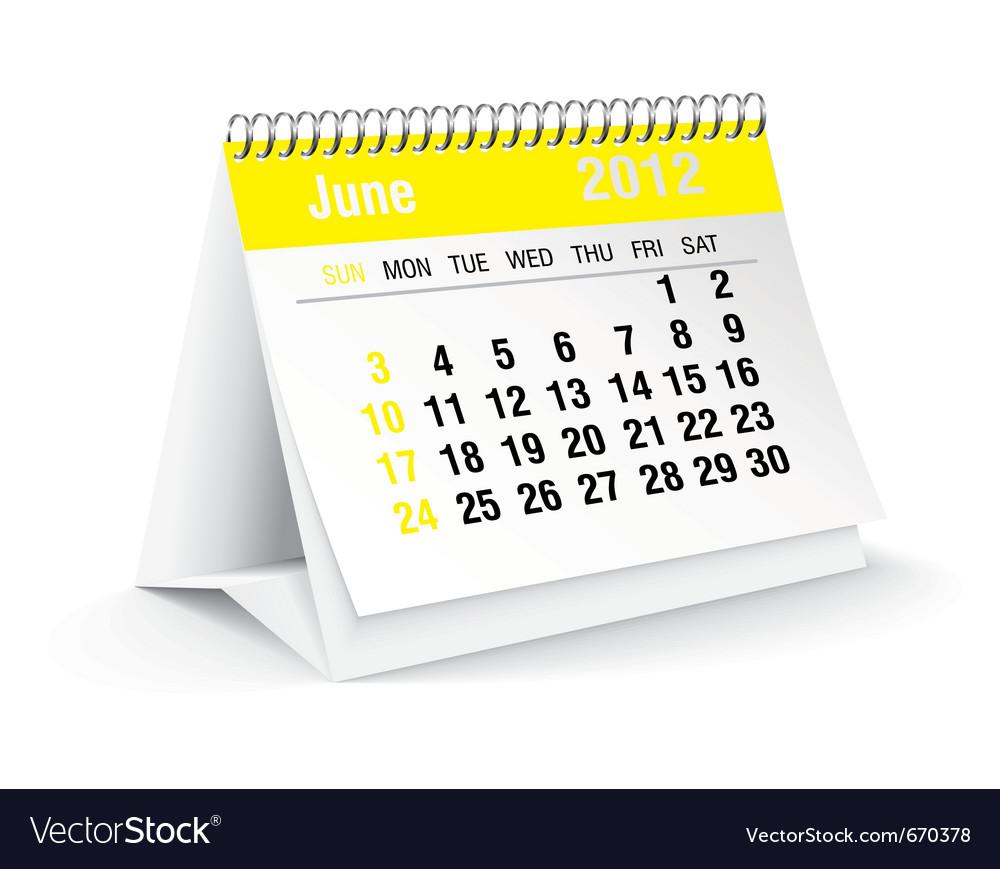 June calendar vector | Price: 1 Credit (USD $1)