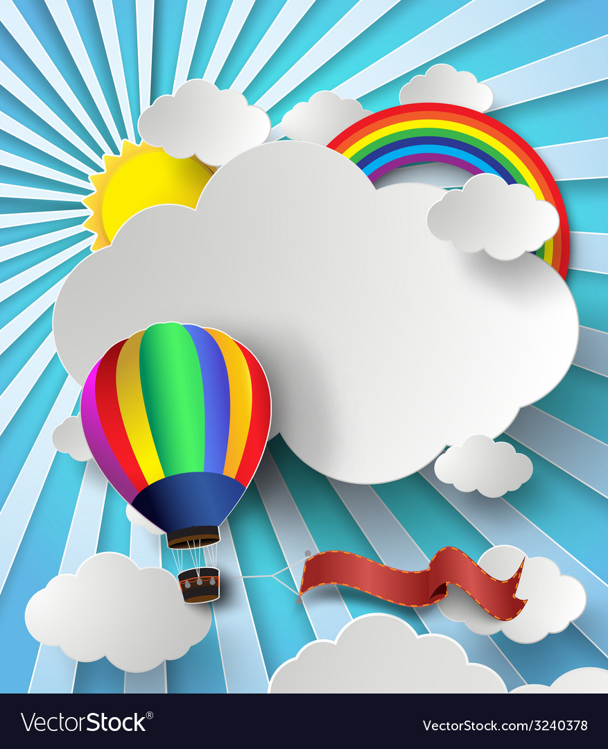 Rainbow on cloud with hot air balloon vector | Price: 3 Credit (USD $3)
