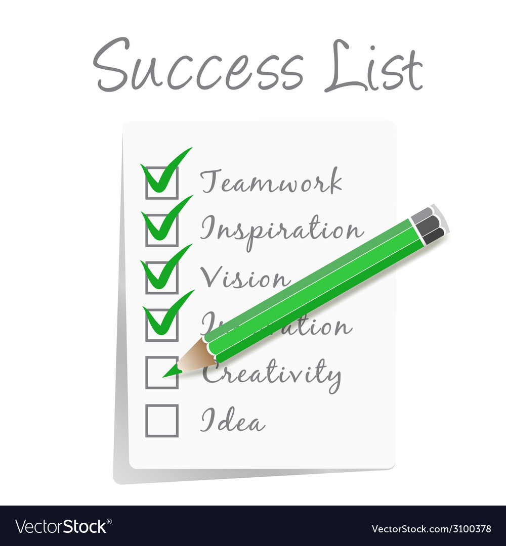 Success check list vector | Price: 1 Credit (USD $1)