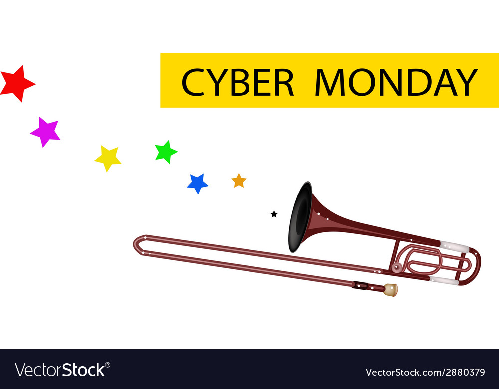 A symphonic trombone blowing cyber monday flag vector | Price: 1 Credit (USD $1)
