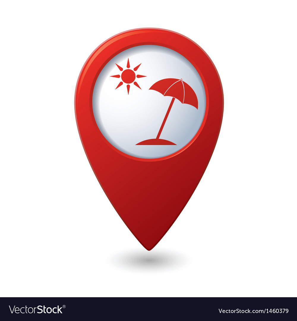 Beach icon on red map pointer vector | Price: 1 Credit (USD $1)