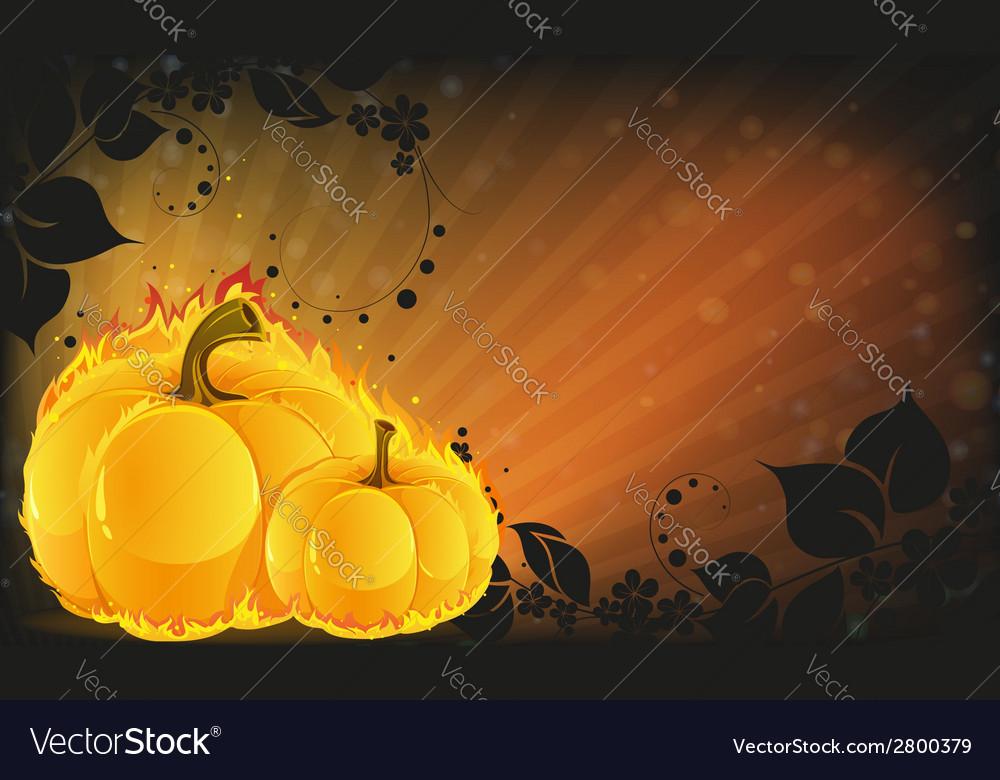 Burning pumpkins on radiant background vector | Price: 1 Credit (USD $1)