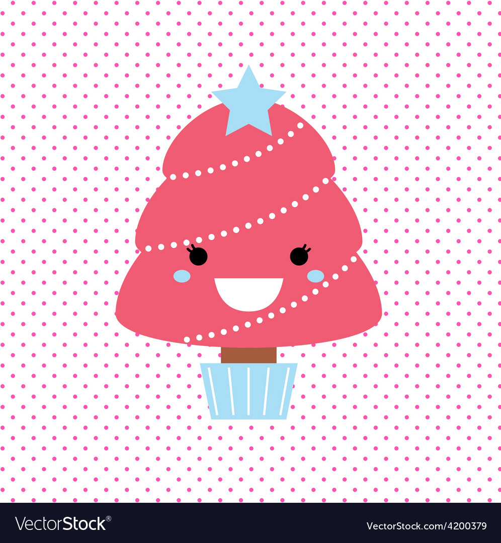 Cute beautiful pink tree on dotted background vector