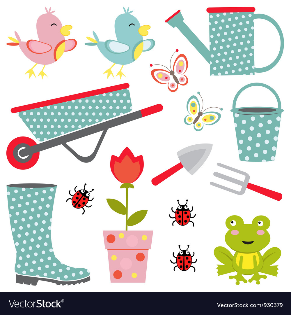 Cute gardening set vector | Price: 1 Credit (USD $1)