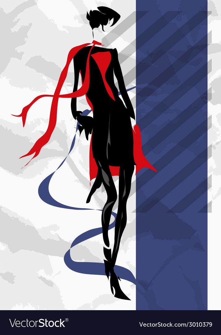 The girl in a black dress and a red scarf vector | Price: 1 Credit (USD $1)