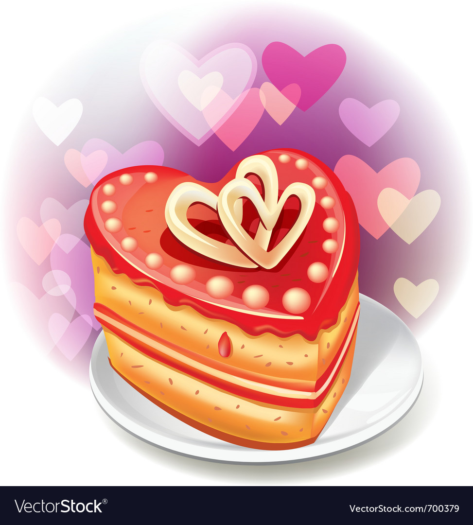 Heart-shaped cake vector | Price: 1 Credit (USD $1)