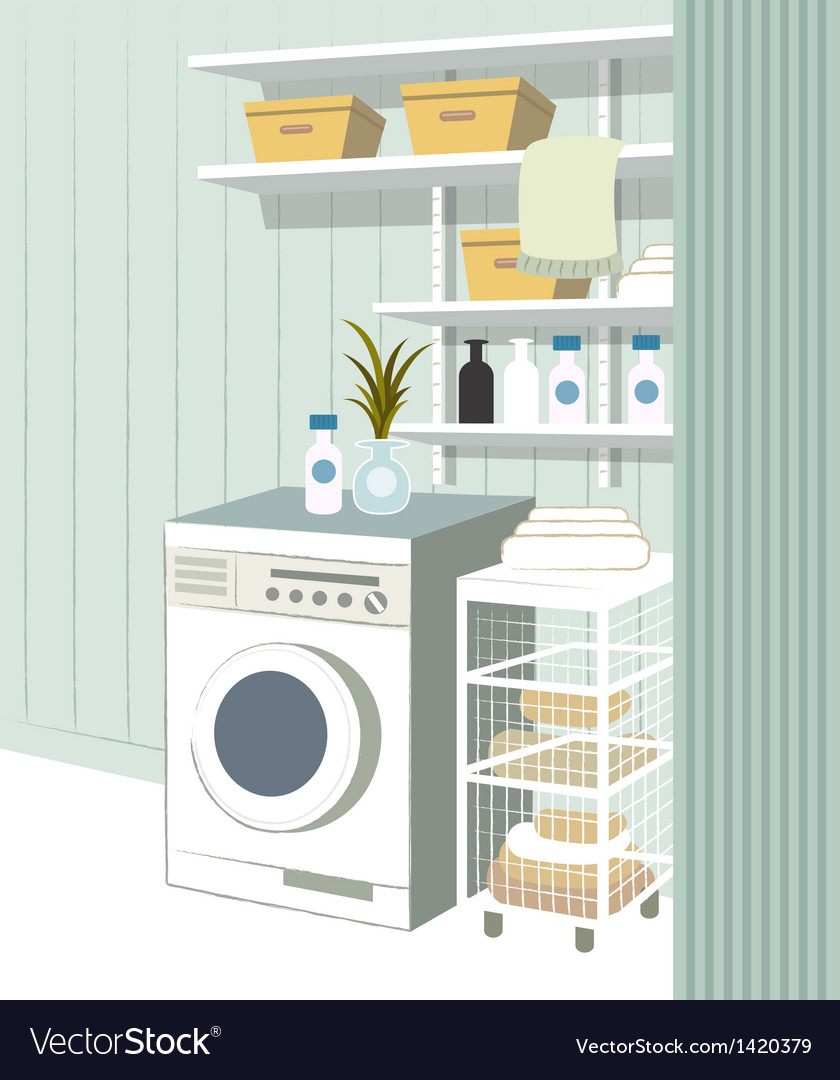 Laundry room interior vector | Price: 1 Credit (USD $1)