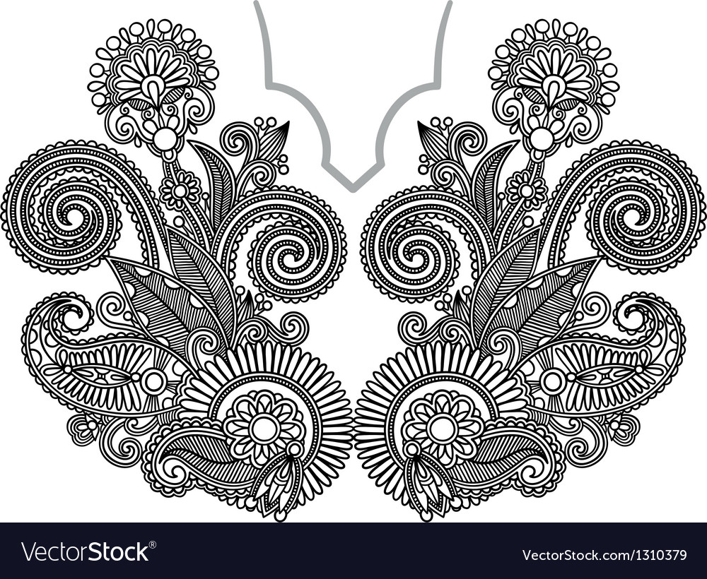 Neckline embroidery fashion ukrainian traditional vector | Price: 1 Credit (USD $1)
