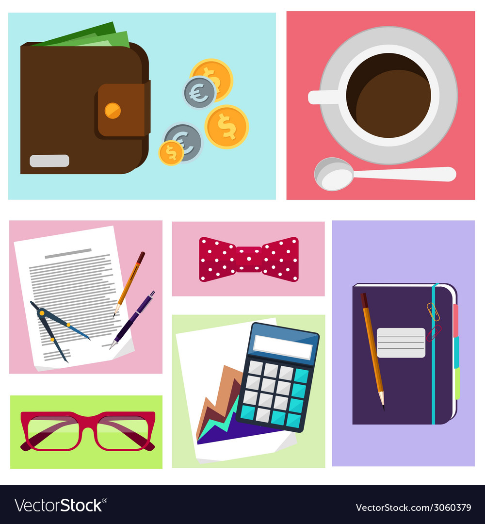 Office desktop with item icons vector | Price: 1 Credit (USD $1)