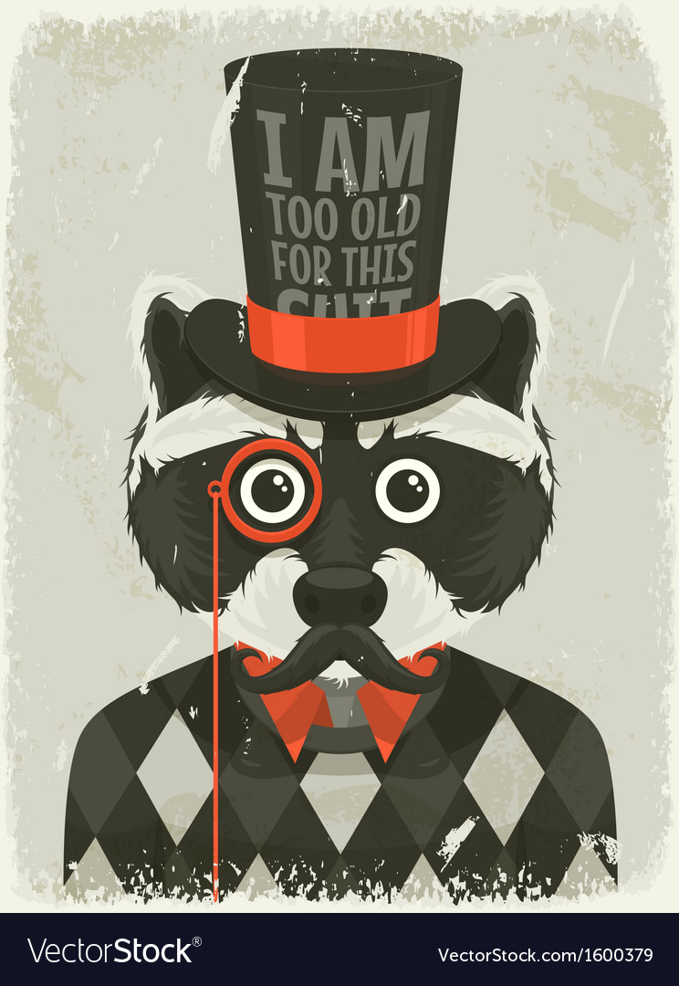 Old photo of hipster raccoon vector | Price: 1 Credit (USD $1)