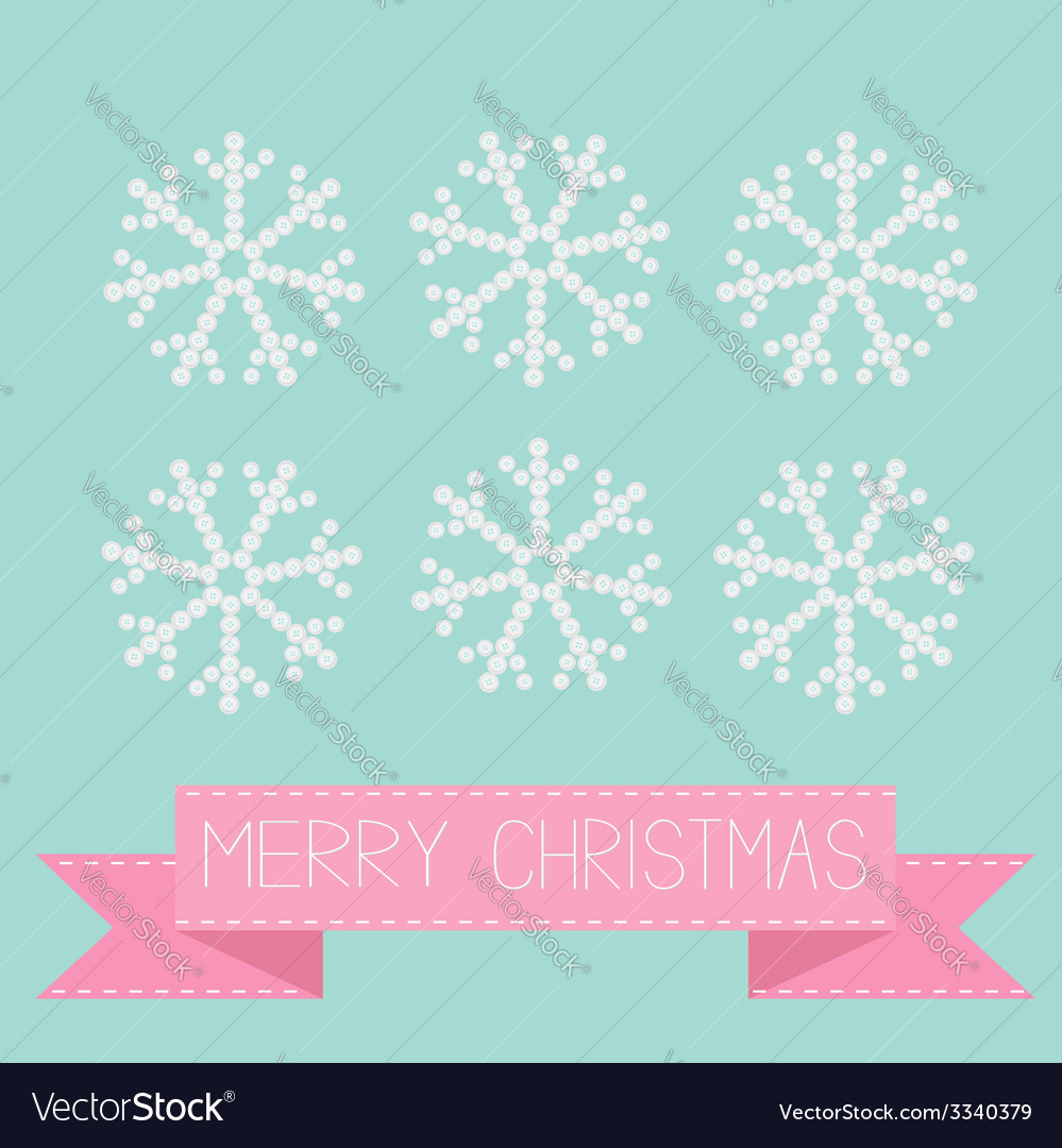 Six button snowflakes blue pink ribbon christmas vector | Price: 1 Credit (USD $1)