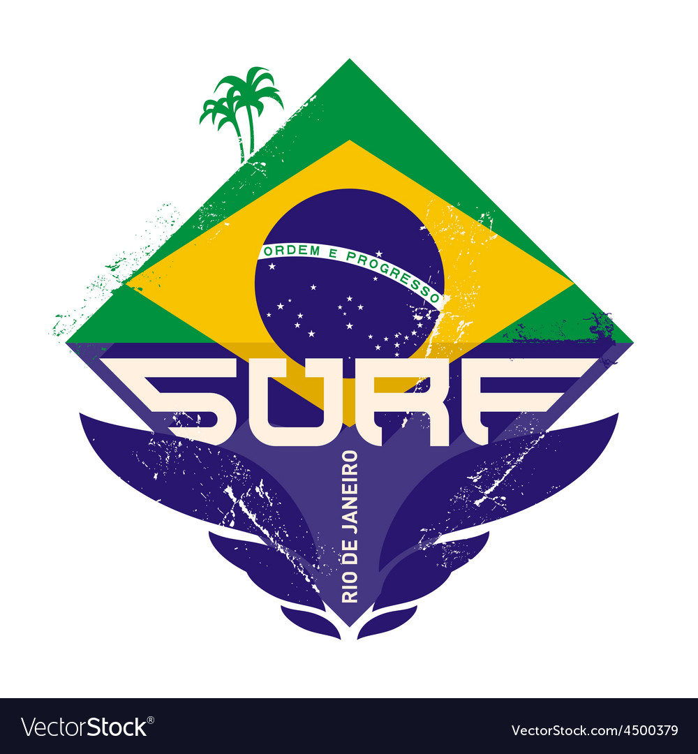 Surfing vintage label with palm and brazil flag vector | Price: 1 Credit (USD $1)
