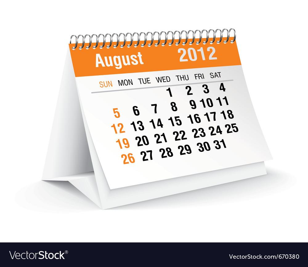August calendar vector | Price: 1 Credit (USD $1)