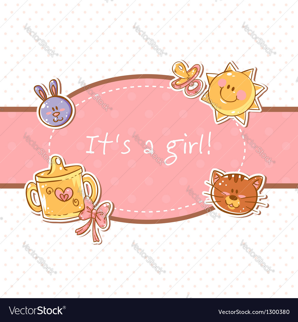 Baby born sweet girl congratulation postcard vector | Price: 1 Credit (USD $1)