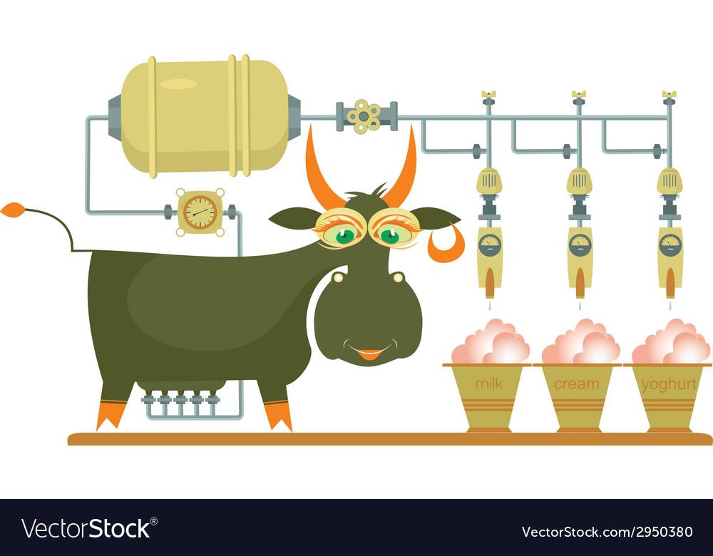 Comic milk farm and cow vector | Price: 1 Credit (USD $1)