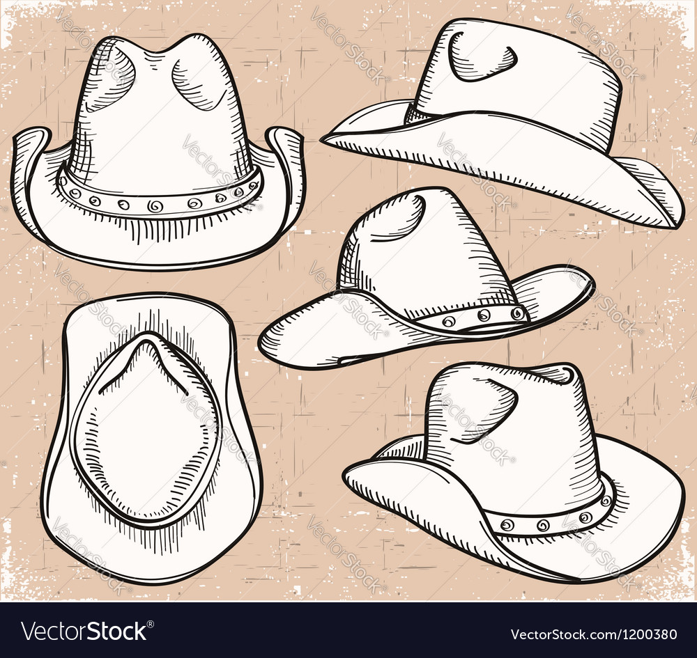Cowboy hat collection isolated on white for design vector | Price: 1 Credit (USD $1)