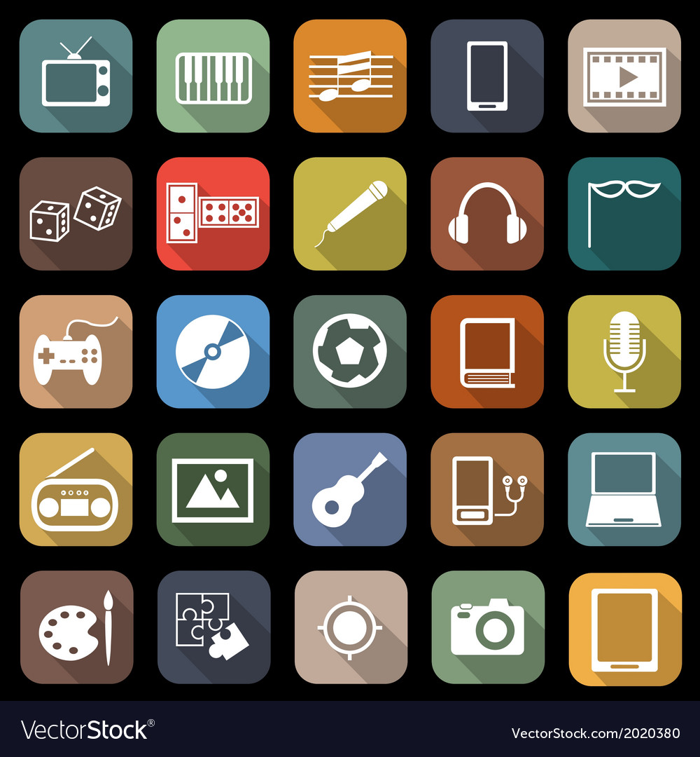 Entertainment flat icons with long shadow vector | Price: 1 Credit (USD $1)