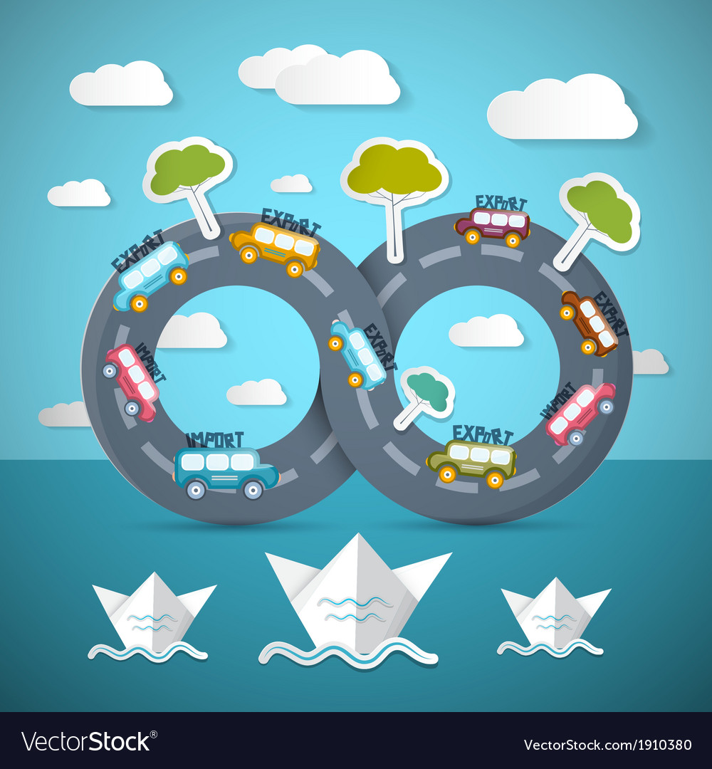 Infinity road with cars ocean bats clouds and vector | Price: 1 Credit (USD $1)