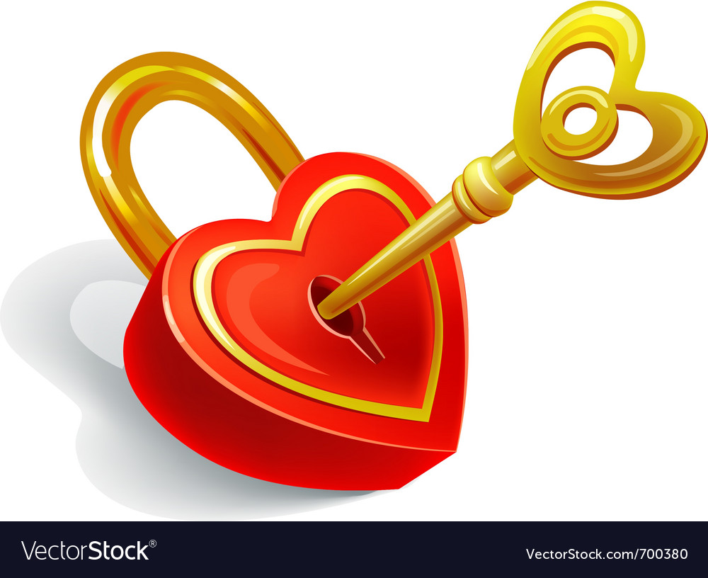 Key and lock in heart shape vector | Price: 1 Credit (USD $1)