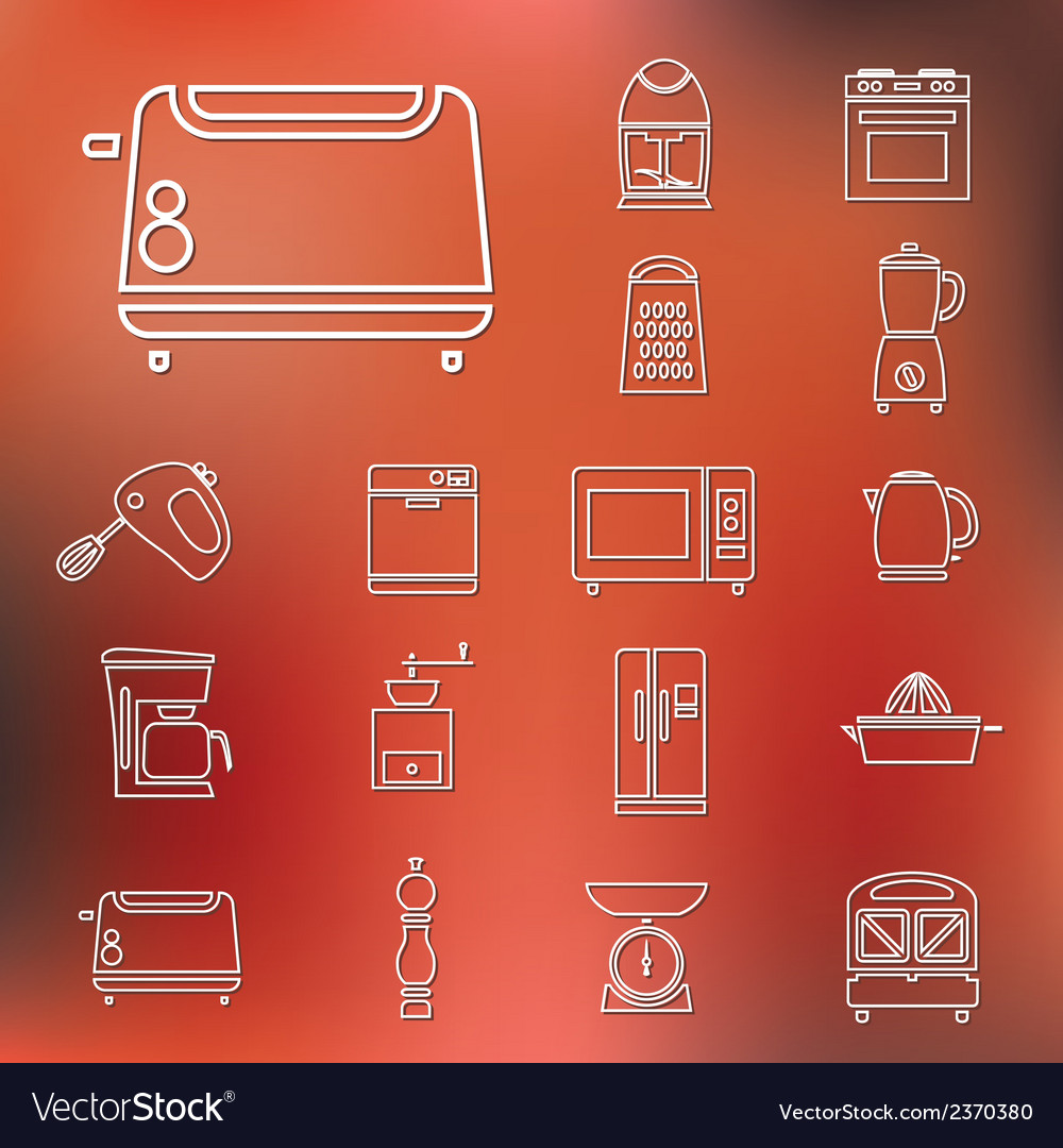 Kitchen appliances and tools outline icons vector | Price: 1 Credit (USD $1)