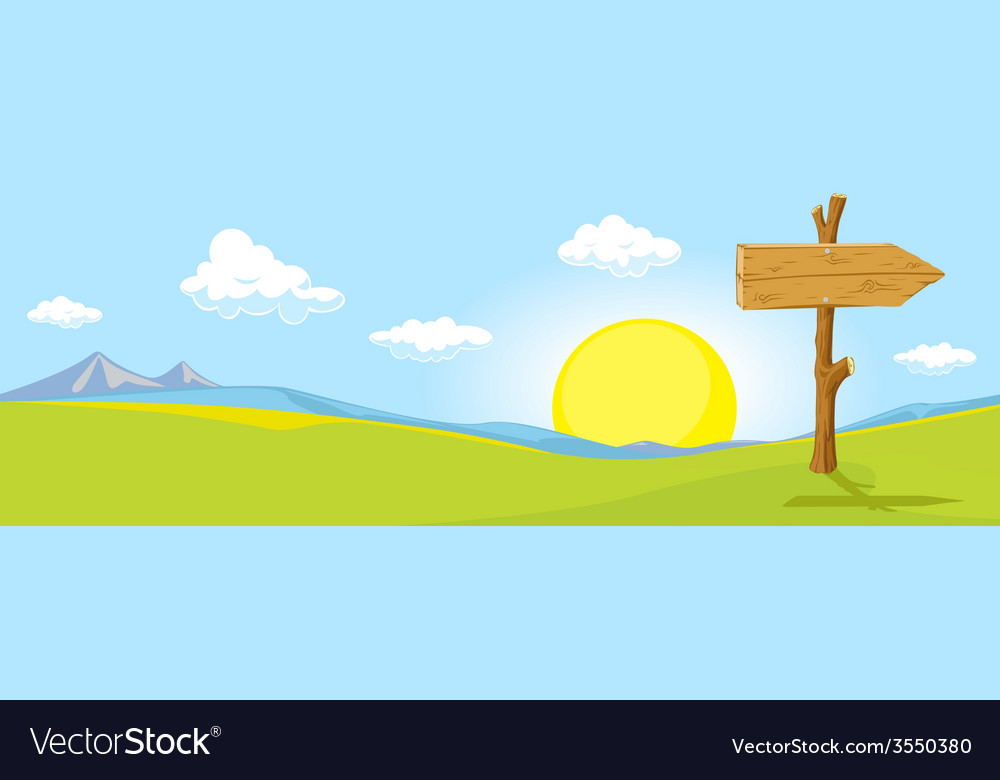 Landscape with directional signs - the way to vector   Price: 1 Credit (USD $1)