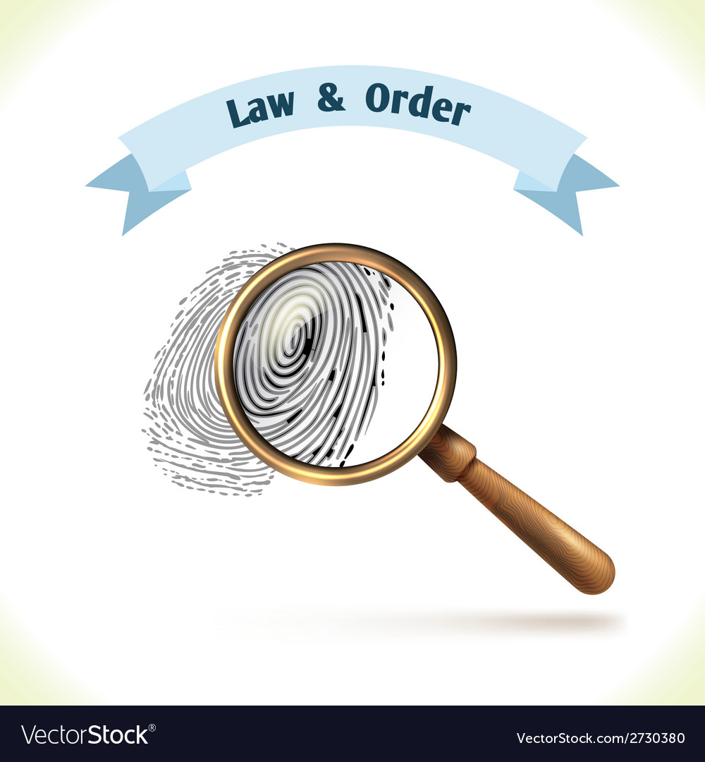 Law icon fingerprint under magnifier vector | Price: 1 Credit (USD $1)