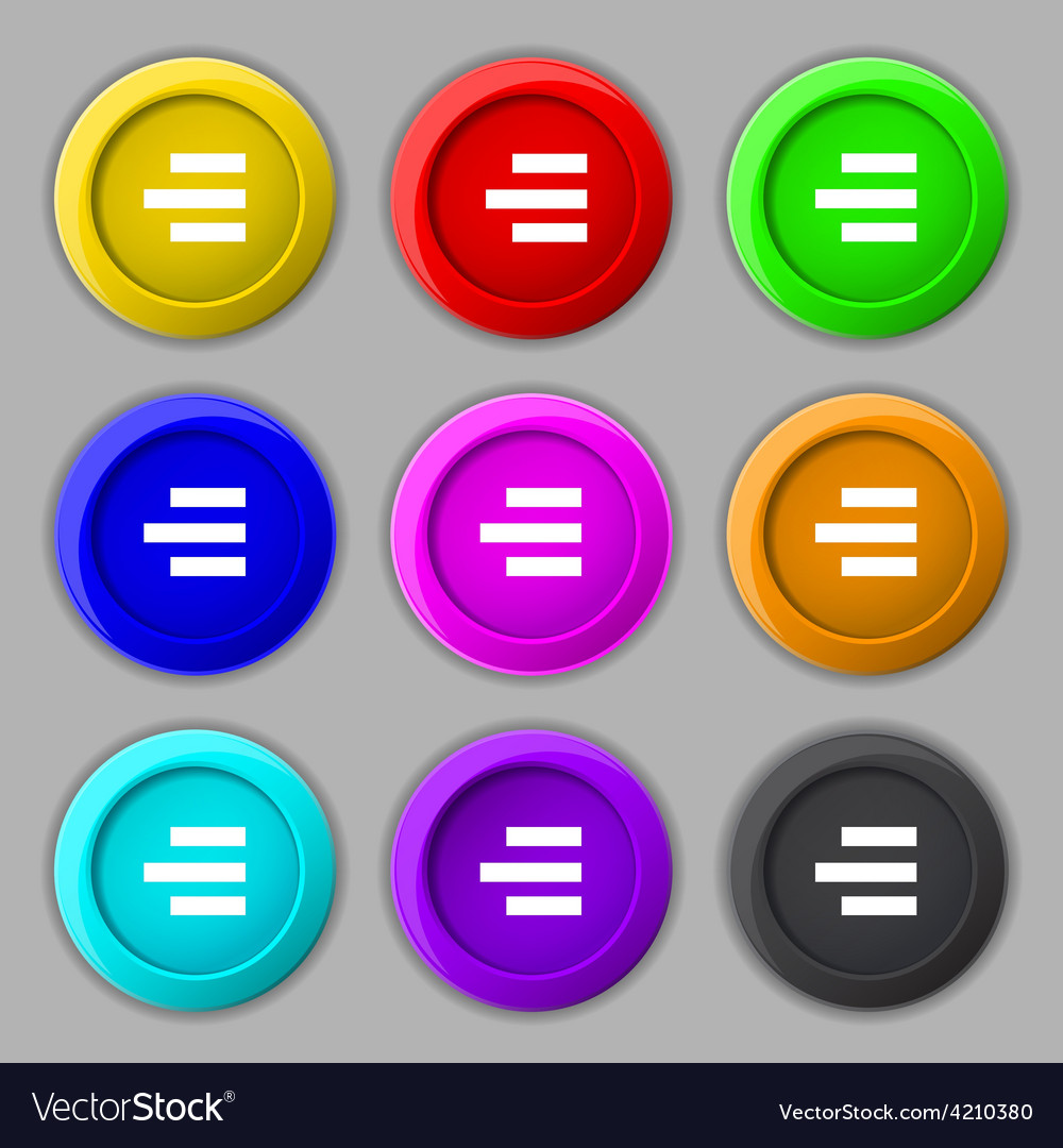 Right-aligned icon sign symbol on nine round vector | Price: 1 Credit (USD $1)