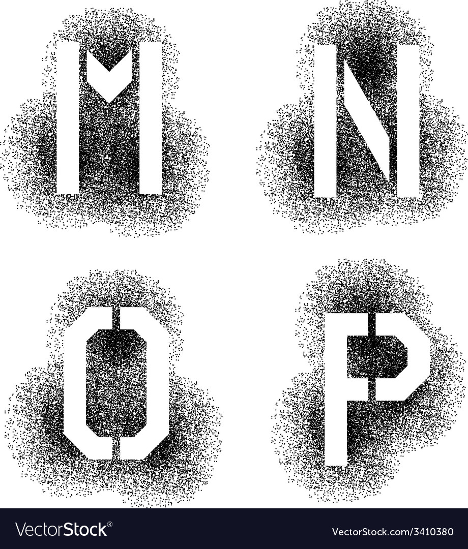 Stencil angular spray font letters m n o p vector | Price: 1 Credit (USD $1)