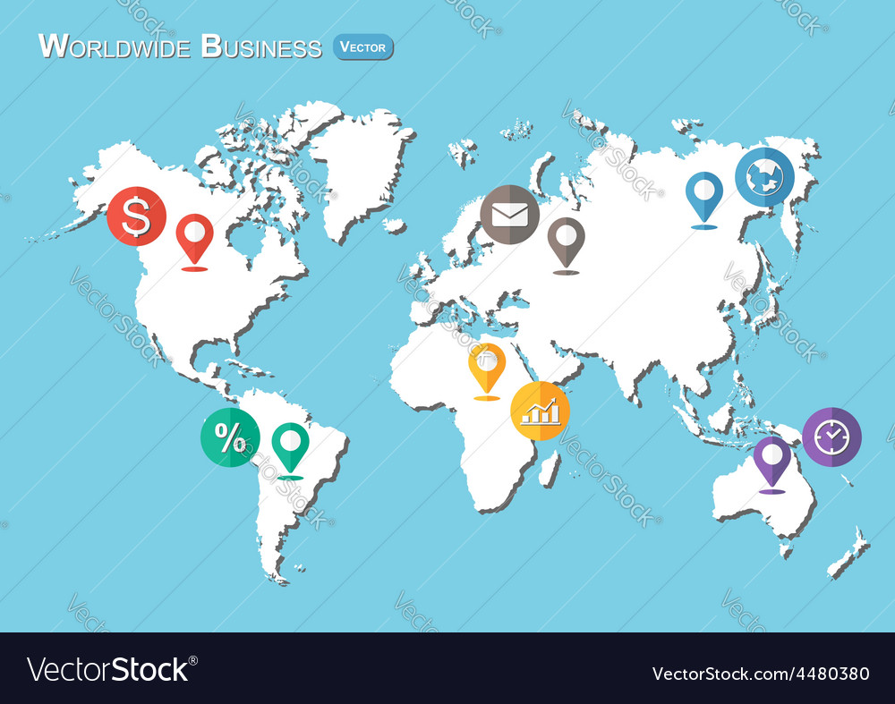 World map with pointers and business icon vector
