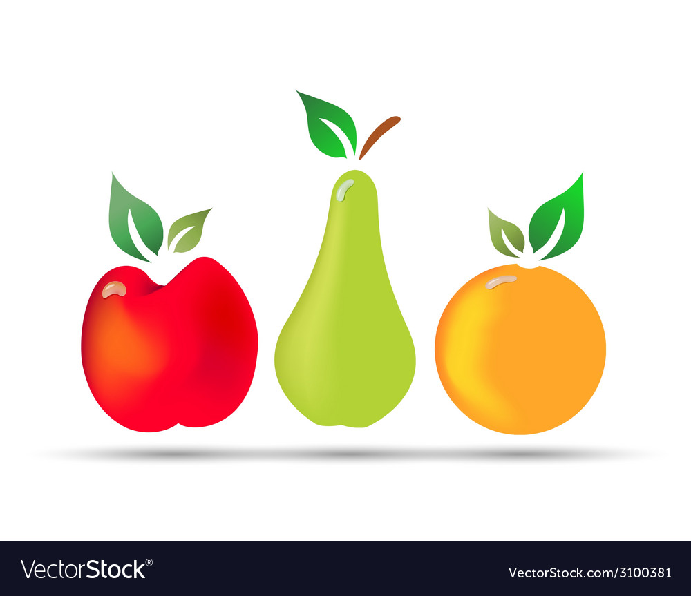Apple pear orange fresh fruit with drops of dew vector | Price: 1 Credit (USD $1)