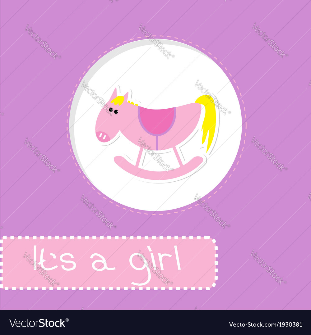 Baby girl shower card with cute horse vector | Price: 1 Credit (USD $1)