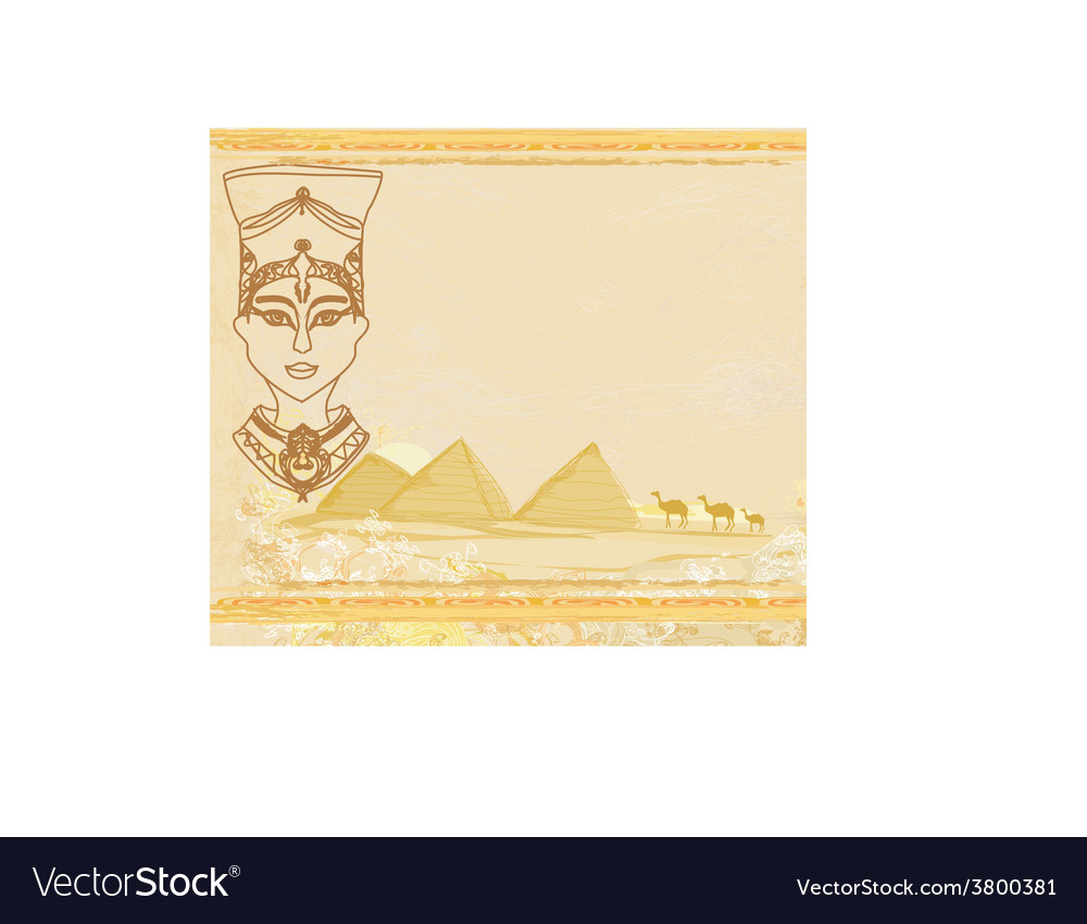 Old paper with egyptian queen vector | Price: 1 Credit (USD $1)