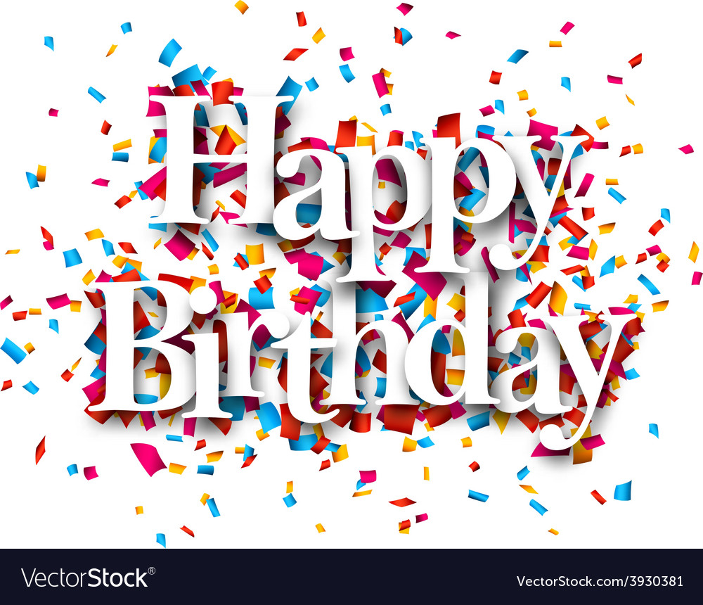 Paper happy birthday confetti sign vector | Price: 1 Credit (USD $1)