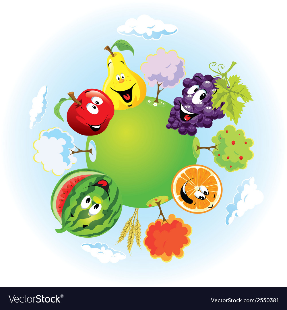 Planet with happy fruits vector | Price: 1 Credit (USD $1)