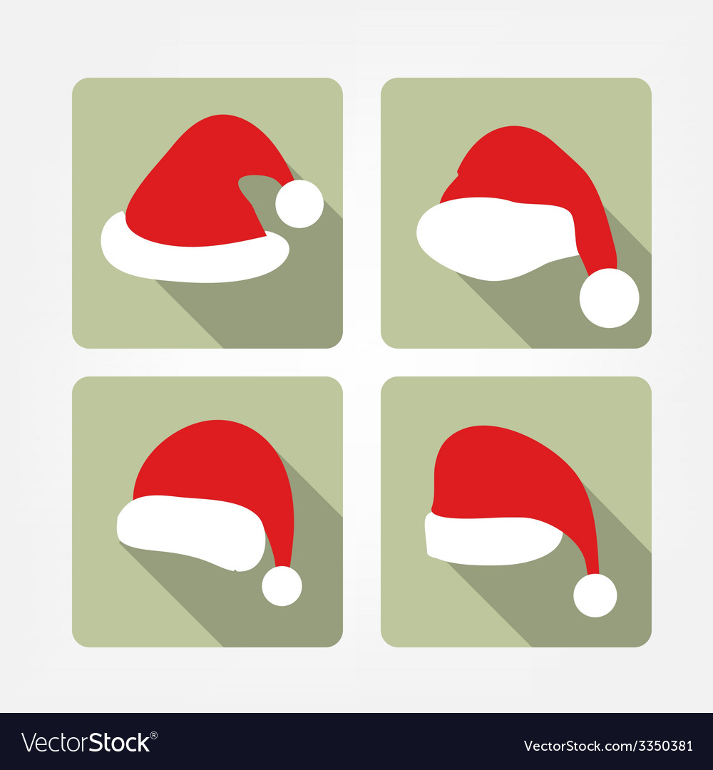 Santa hat flat icons vector | Price: 1 Credit (USD $1)