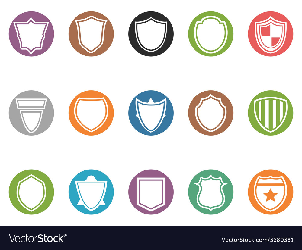 Shield icon buttons set vector | Price: 1 Credit (USD $1)