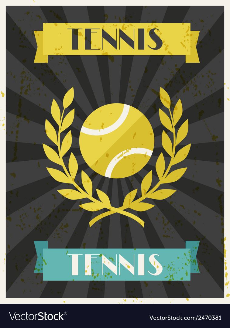 Tennis retro poster in flat design style vector | Price: 1 Credit (USD $1)