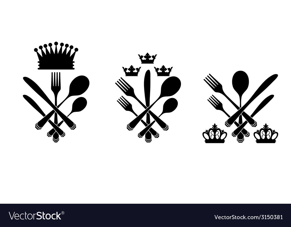 Three cutlery set with crowns vector | Price: 1 Credit (USD $1)