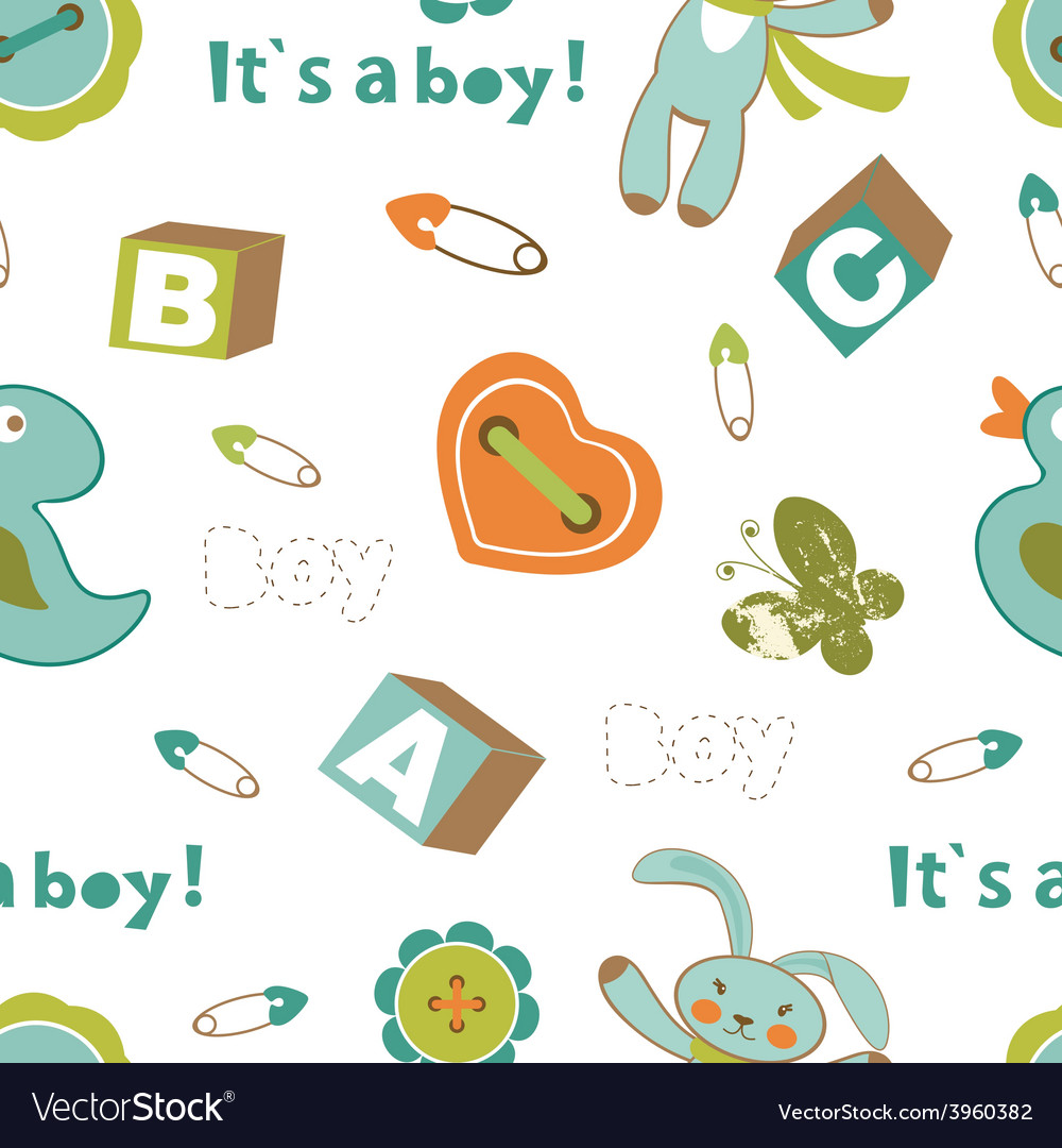 Colorful baby boy pattern vector | Price: 1 Credit (USD $1)