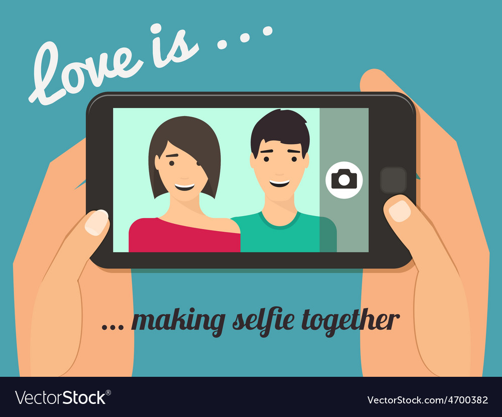 Couple taking selfie vector | Price: 1 Credit (USD $1)