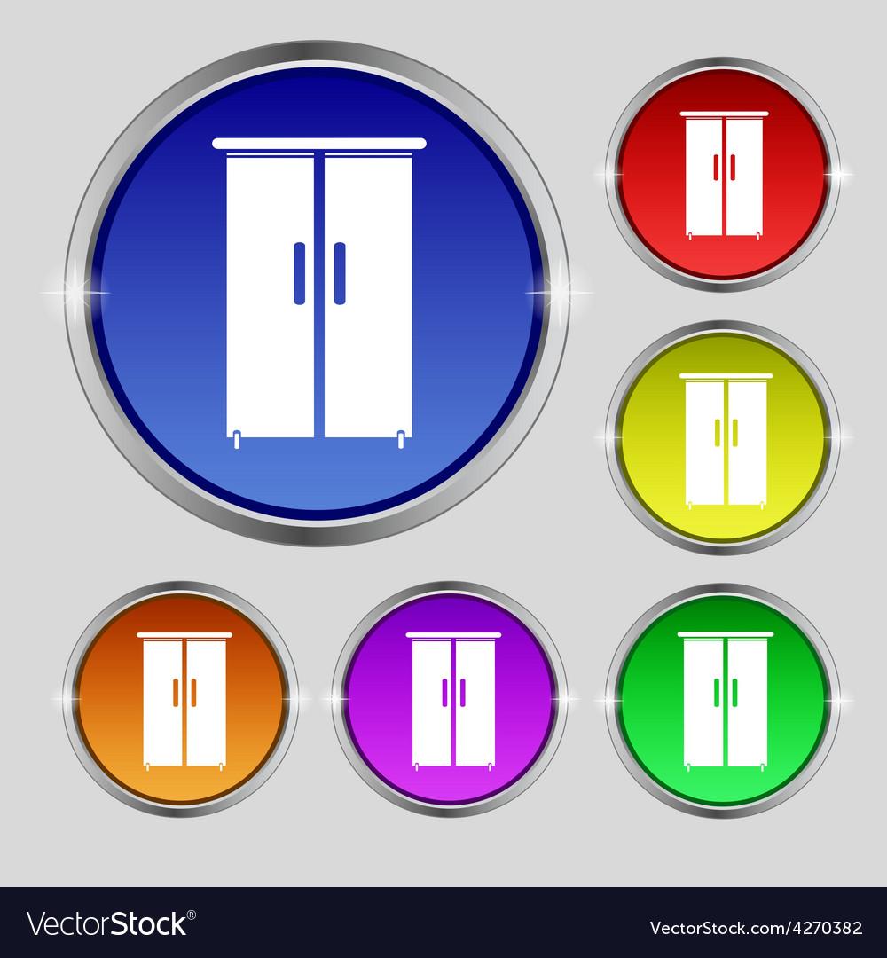 Cupboard icon sign round symbol on bright vector | Price: 1 Credit (USD $1)