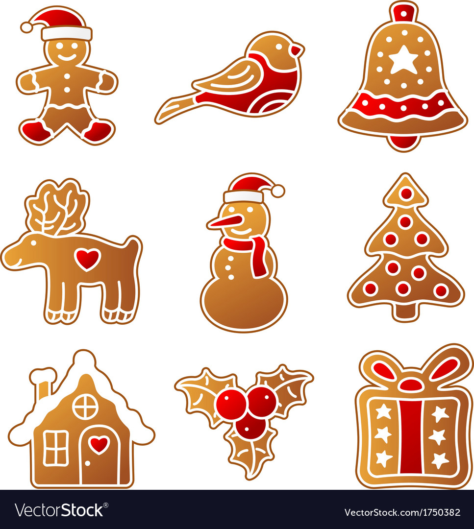 Gingerbread christmas set vector | Price: 1 Credit (USD $1)