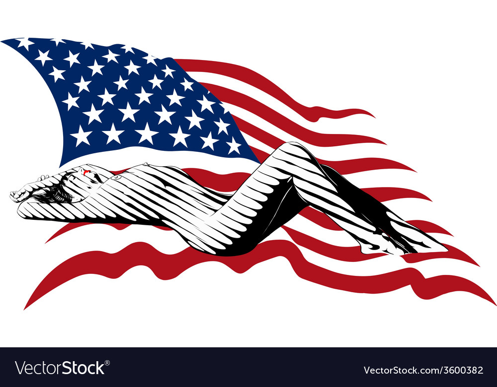 Girl and the us flag vector | Price: 1 Credit (USD $1)
