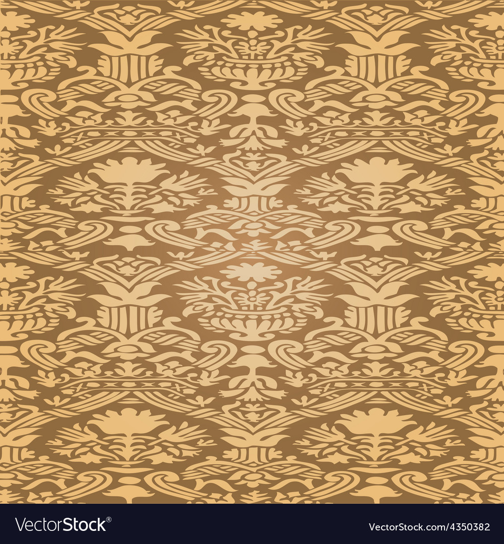 Gold seamless abstract floral pattern background vector | Price: 1 Credit (USD $1)