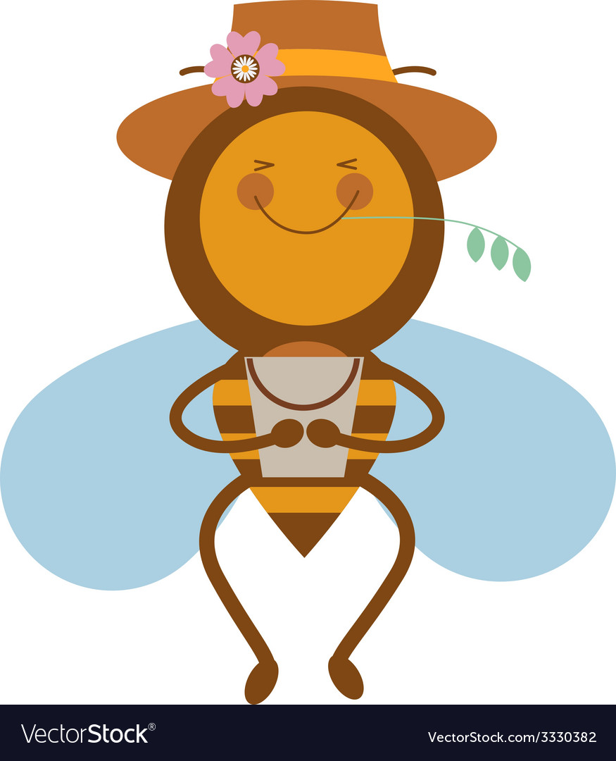 Happy beee in a hat vector | Price: 1 Credit (USD $1)