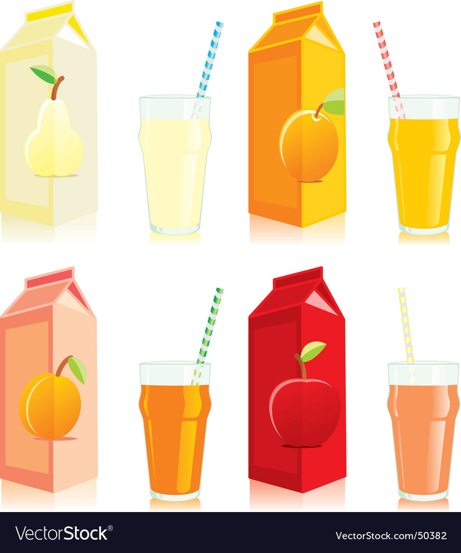 Juice carton box and glass vector | Price: 3 Credit (USD $3)