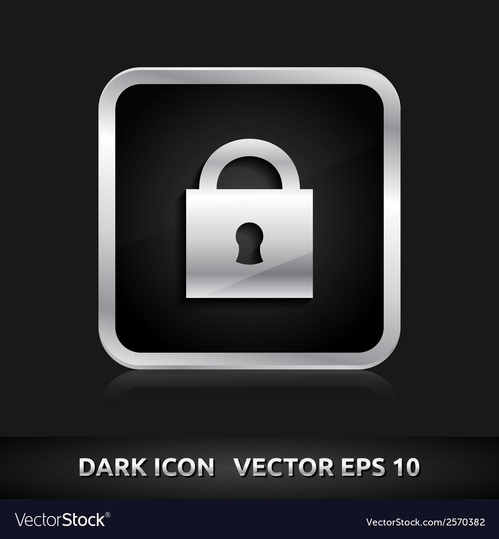 Lock icon silver metal vector | Price: 1 Credit (USD $1)