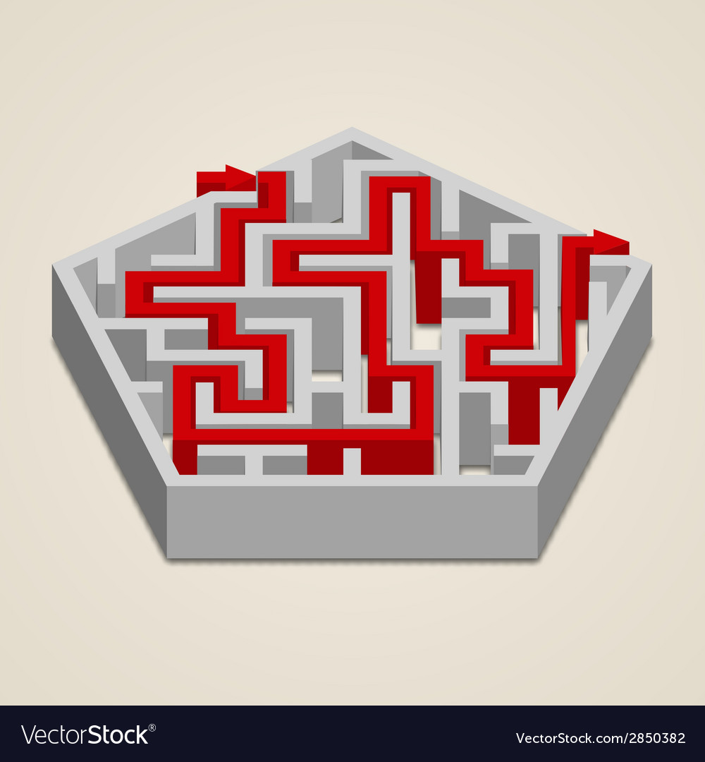 Maze 3d labyrinth with solution vector | Price: 1 Credit (USD $1)
