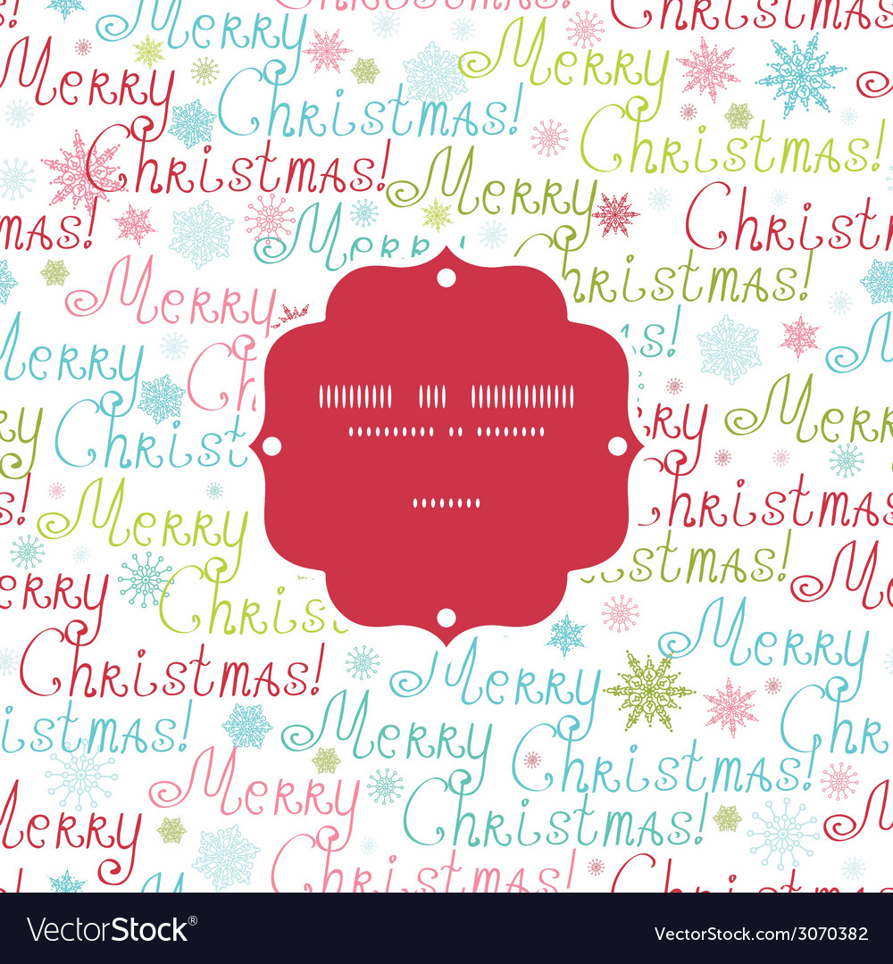 Merry christmas text frame seamless pattern vector | Price: 1 Credit (USD $1)